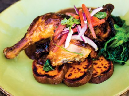 The Chicken With Mole Coloradito is a house favorite in the dining room.